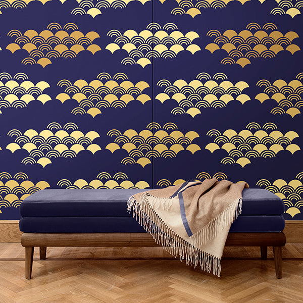 Japanese pattern wall covering. Silk. Made in italy
