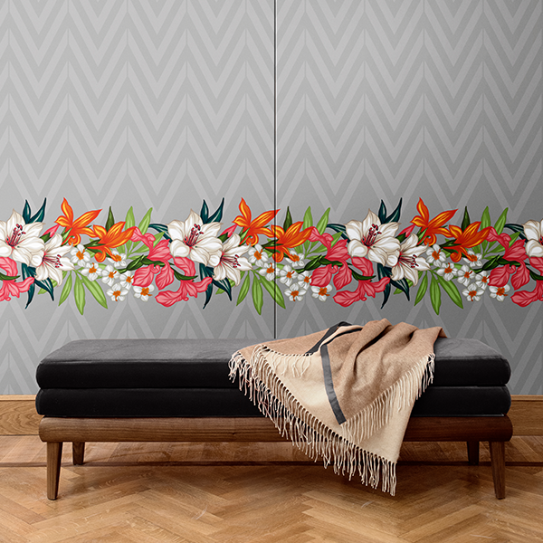 Flowers pattern wall covering. Silk. Made in italy