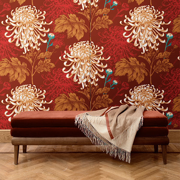 Dhalia pattern wall covering. Silk. Made in italy