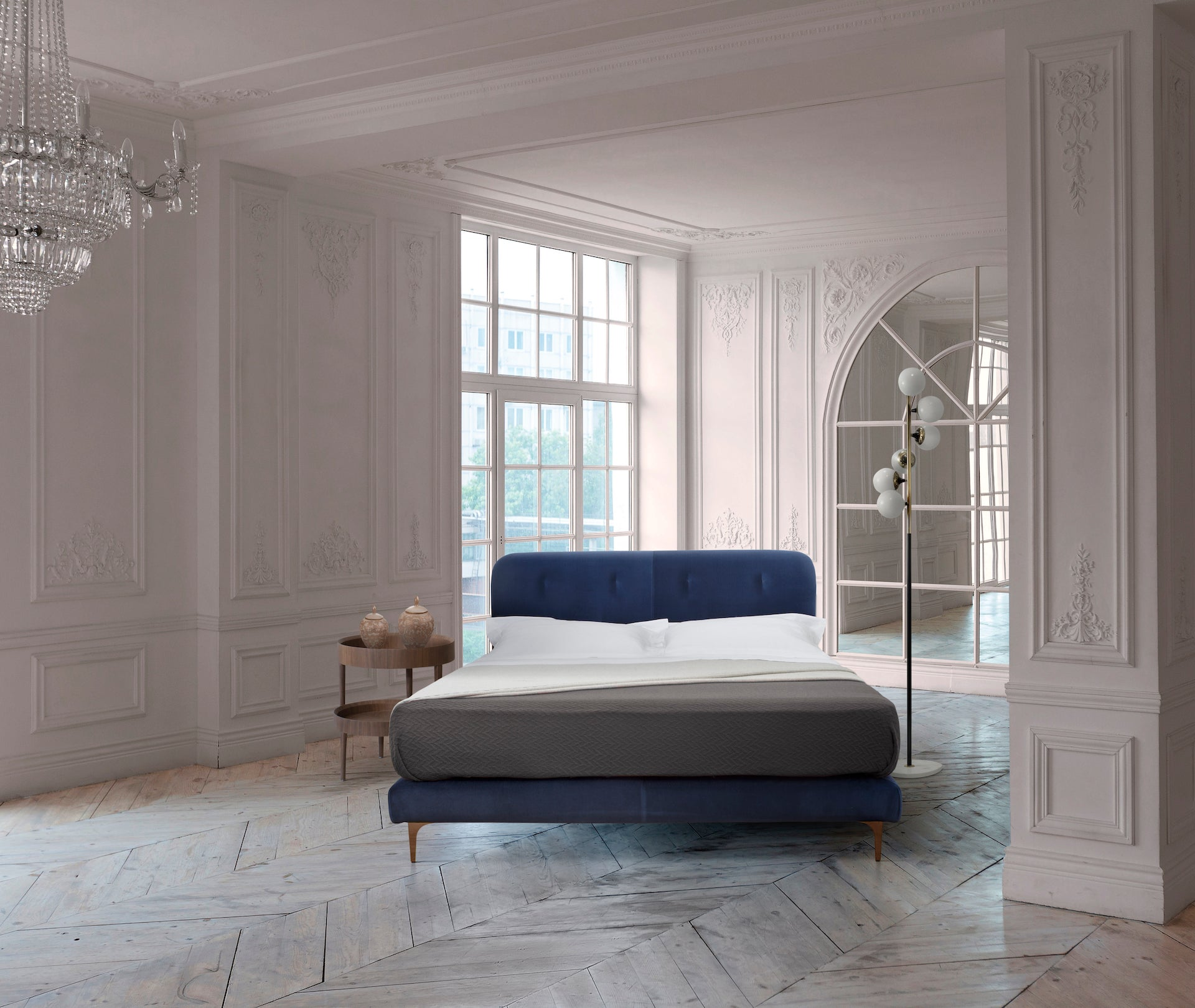 Luxury and precious elegant bed. leather headboard. Italian bed. handmade with natural materials. Made in italy.