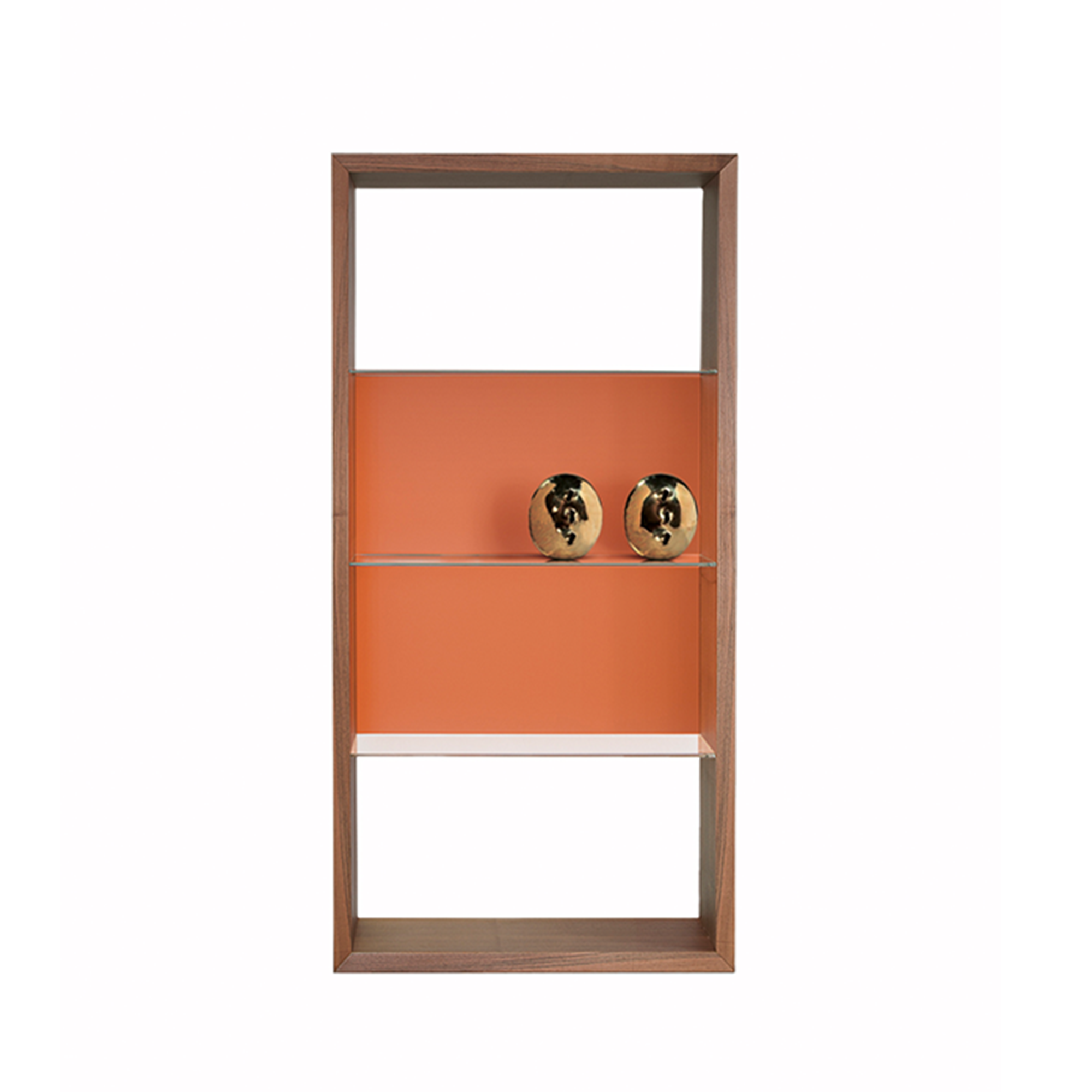 Wood and glass bookshelf. Made in Italy. Orange