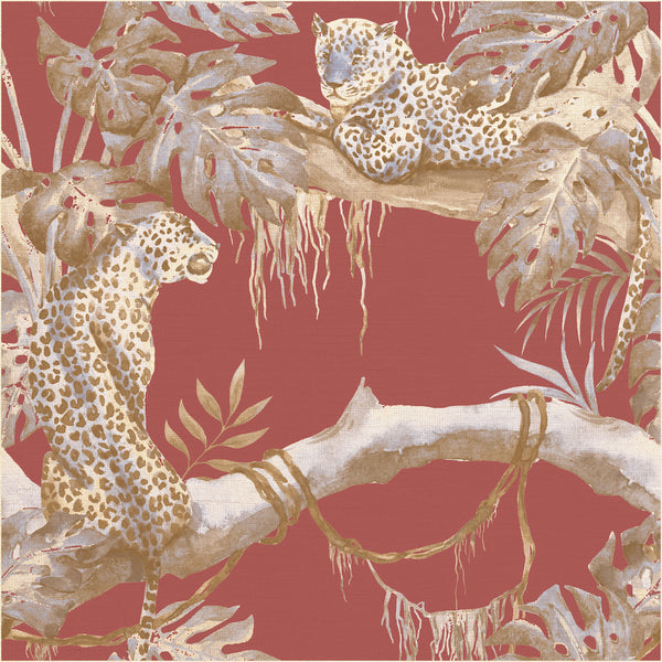 Leopards pattern wall covering. Silk. Made in italy