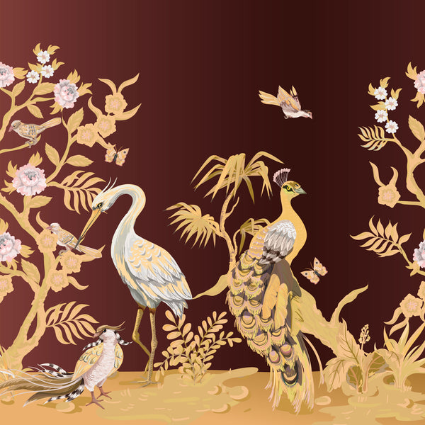 Peacock and Herons Panel