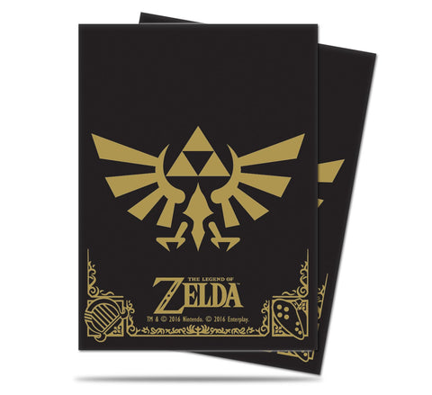 Zelda Card Sleeves - Black & Gold Crest