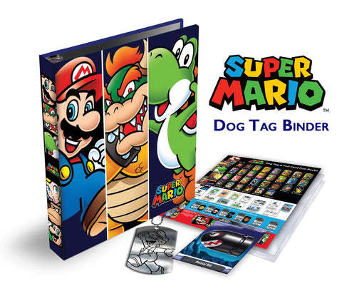 Super Mario 3-Ring Binder with bonus exclusive Foil Trading Card & Dog Tag