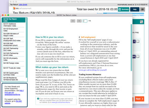 Context-sensitive help buttons open the relevant HMRC notes on the appropriate page
