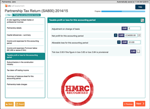 ABC SA800 Partnership tax return