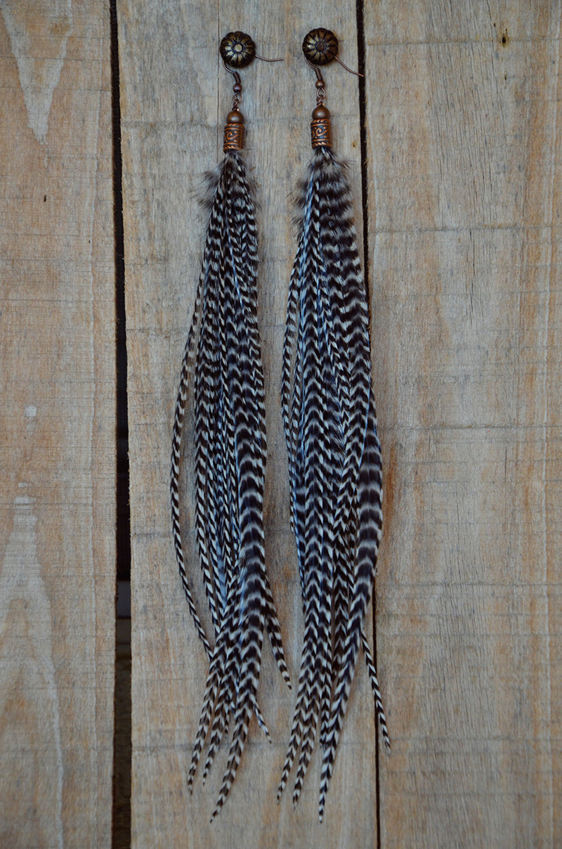 Grizzly Man Feather Earrings