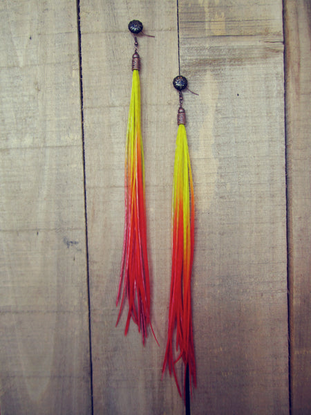 Neon Sunrise Feather Earrings