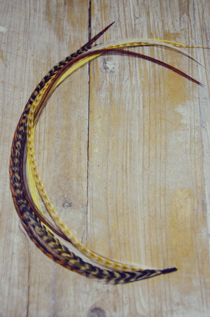extra long feather extension yellow