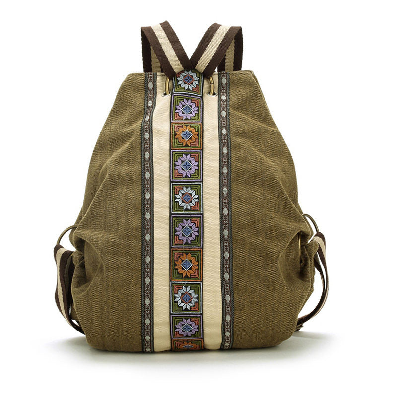 Tribal Canvas Embroidered Travel Backpack