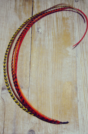extra long feather extension red