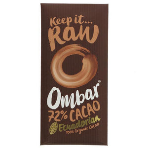 Chocolate Raw Cacao 72% By Ombar - 70g Bar - Vegetropolis Organic Fruit and Veg Delivery Service
