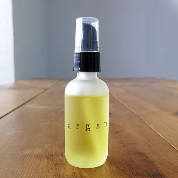 Organic Argan Oil in 2 oz Frosted Pump Glass Bottle