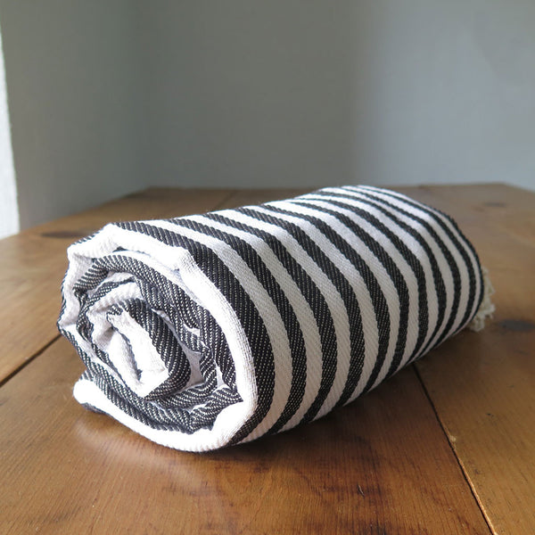 Peshtemal Striped Cotton Turkish Towel in Black