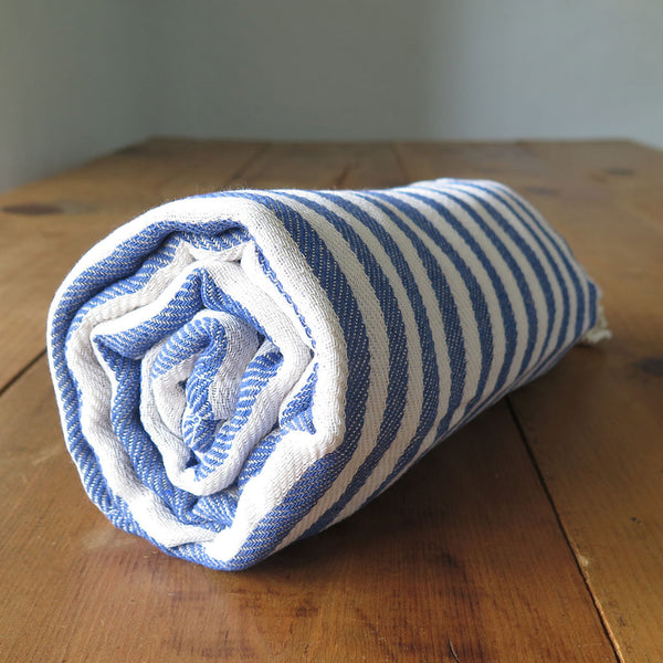 Peshtemal Striped Cotton Turkish Towel in Blue