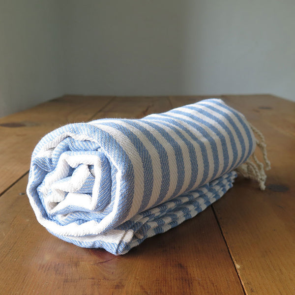 Peshtemal Striped Cotton Turkish Towel in Light Blue