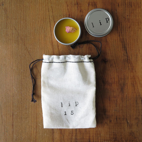 Rose Lime Lip Balm Tin with Muslin Bag