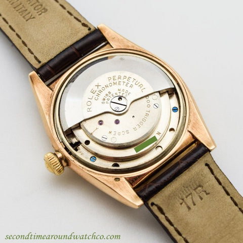 A rotor-powered automatic watch movement.