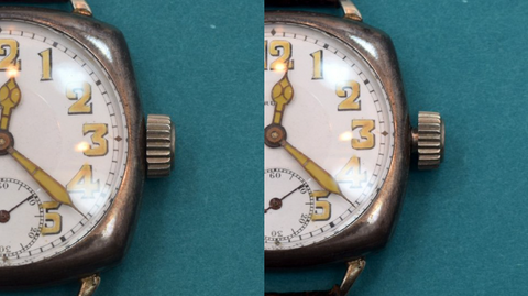 This is a standard crown. At left, the crown is fully in and ready to wind. At right, the crown is out and ready to set the time. Date or calendar watches may have additional notches between the winding and setting positions for the purpose of setting the date, day, and/or month functions.