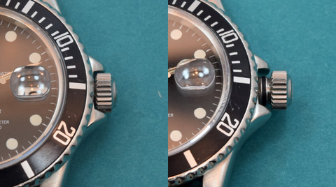 This is a patented Rolex 'Oyster' screw-down crown. At left, the crown is fully threaded in and locked to the case, it will not wind or set. At right, the crown is un-threaded and pulled to the farthest notch. The hands may then be manipulated to set the time.