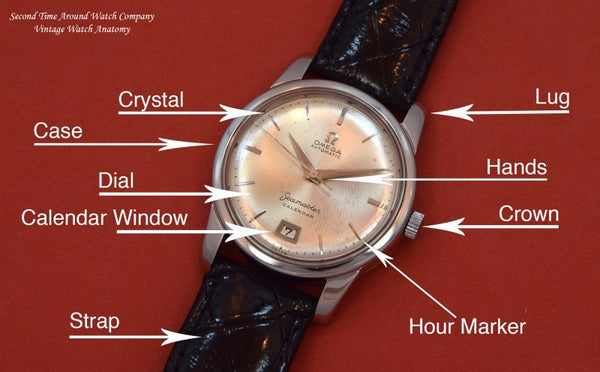 Diagram of a watch with descriptive arrows pointing to different parts