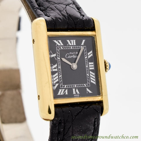 1990 Cartier Tank Must De Ladies' Size 18k Yellow Gold Plated Watch