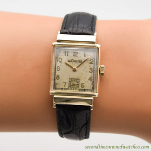 1940's Vintage Jaeger LeCoultre Square-shaped 10k Yellow Gold Filled Watch