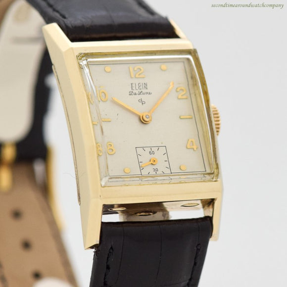 1948 Vintage Elgin De Luxe Rectangular-shaped 10k Yellow Gold Filled Watch (# 12565)
