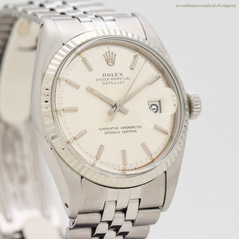 1973 Vintage Rolex Datejust Reference 1601 14k White Gold & Stainless Steel Watch