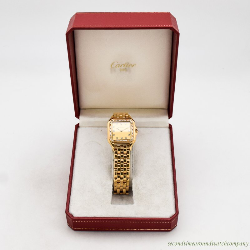 1990's era Cartier Panthere 18k Yellow Gold & Diamonds Watch