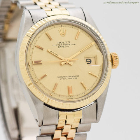 1971 Vintage Rolex Datejust Reference 1601 14k Yellow Gold & Stainless Steel Watch