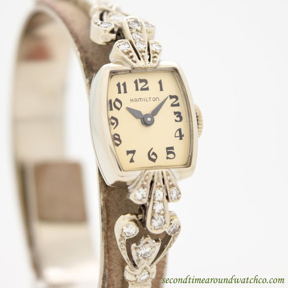 1947 Vintage Hamilton Ladies 14k White Gold & Diamonds Watch