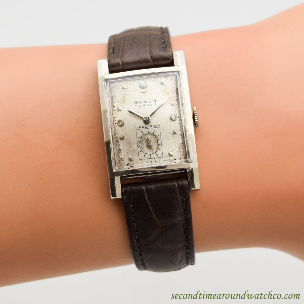 1940's Vintage Gruen Curvex Precision 14k White Gold Watch