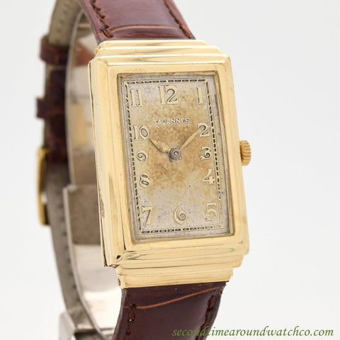 1930's Vintage Tavannes Rectangular-shaped 14k Yellow Gold Filled Watch