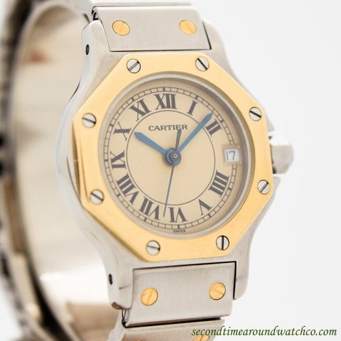 1992 Cartier Santos De Cartier Octagon 18k Yellow Gold & Stainless Steel Watch