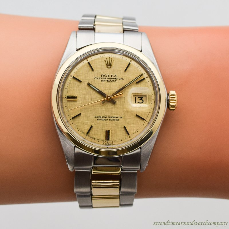 1968 Vintage Rolex Datejust Reference 1600 14k Yellow Gold & Stainless Steel Watch
