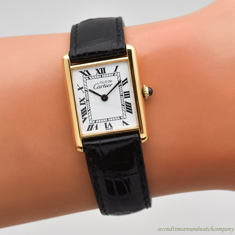 1990's era Cartier Tank Must De Men's Sized 18k Yellow Gold Plated Watch