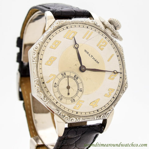 1923 Vintage Waltham Pocket Watch Conversion 14k White Gold Watch