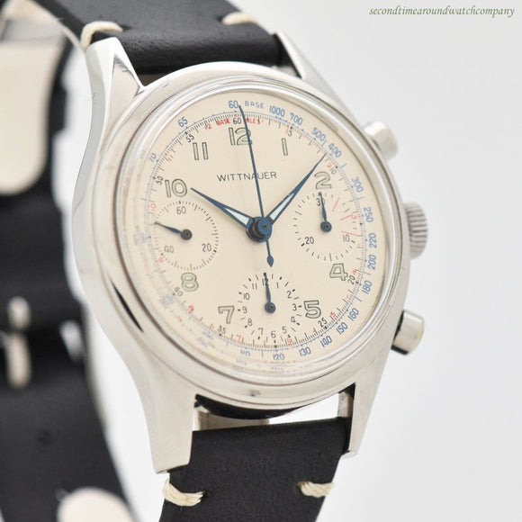 1960's Vintage Wittnauer 3-Register Chronograph Stainless Steel Watch