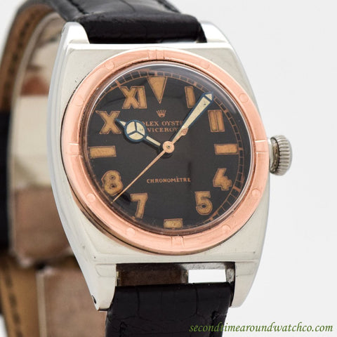 1943 Vintage Rolex Viceroy Ref. 3359 14K Rose Gold & Stainless Steel Watch