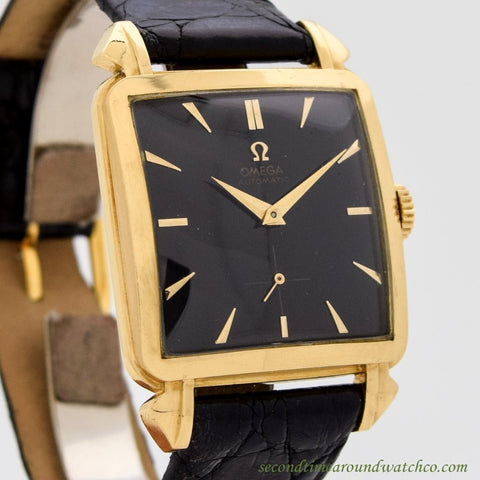 1950 Vintage Omega Square-shaped 18k Yellow Gold Watch