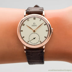 1942 Vintage Omega Chronometer 14k Rose Gold Watch