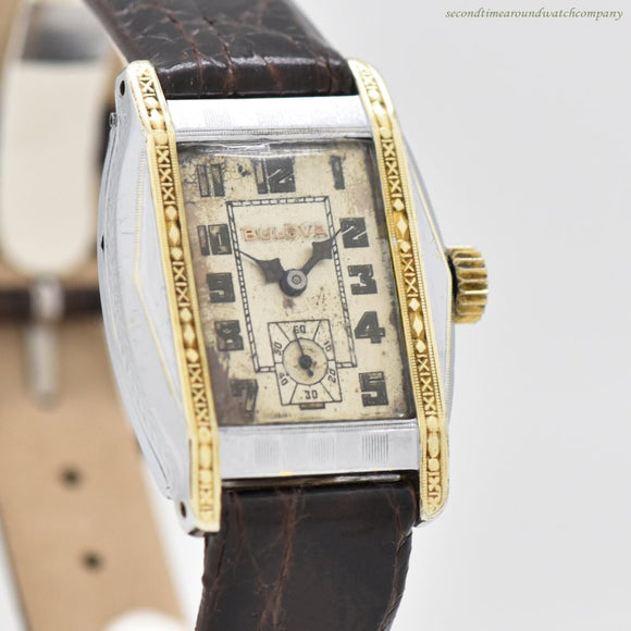 1927 Vintage Bulova Rectangular-shaped 14k Yellow Gold & Nickle Watch