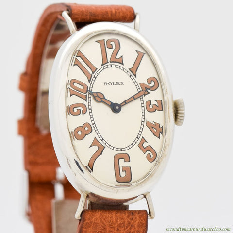 1930's Vintage Rolex Oval-shaped Sterling Silver Watch