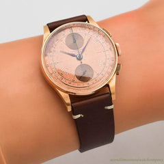 1950's Vintage Chronographe Suisse 2-Register Chronograph 18k Rose Gold Watch