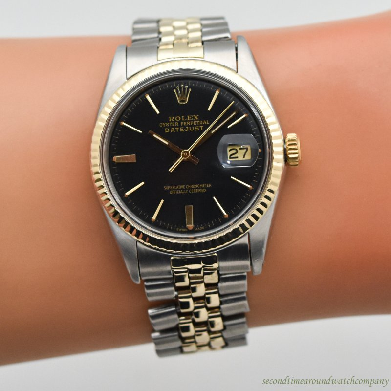 1967 Vintage Rolex Datejust Reference 1601 14k Yellow Gold & Stainless Steel