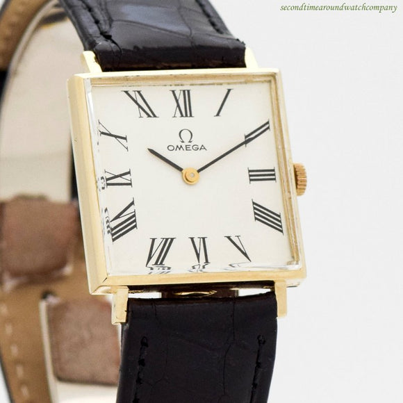 1960 Vintage Omega Square-shaped 14k Yellow Gold Watch