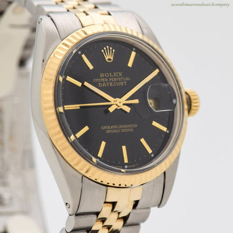 1967 Vintage Rolex Datejust Reference 1603 14k Yellow Gold & Stainless Steel Watch
