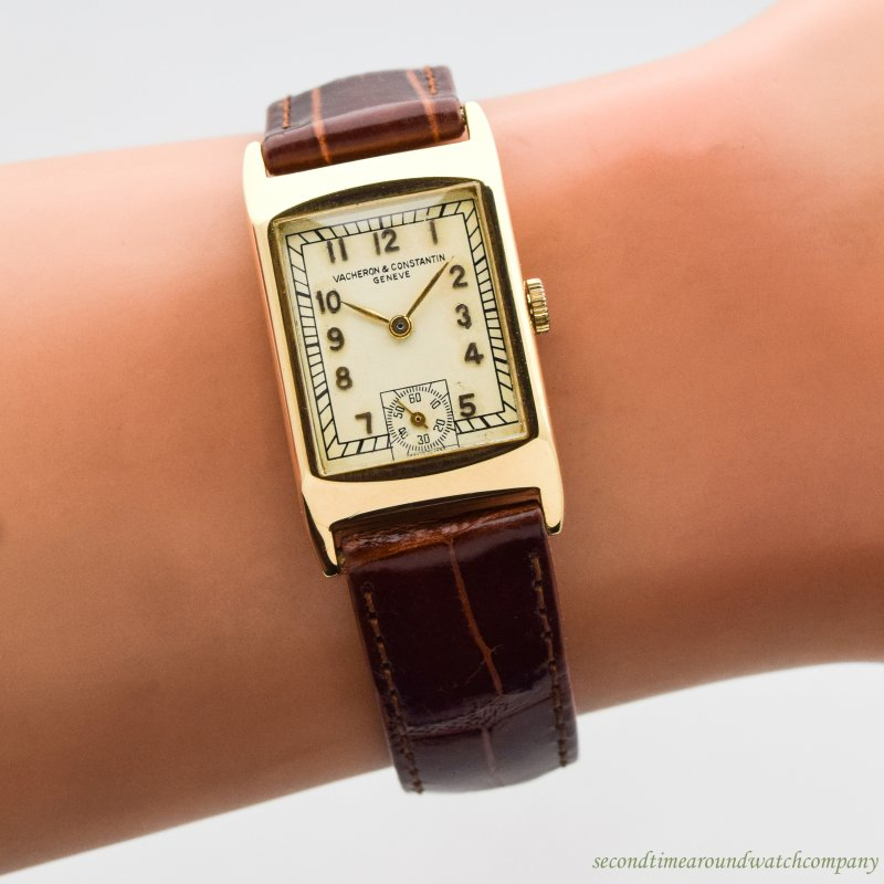 1933 Vintage Vacheron Constantin Rectangular-shaped 18k Yellow Gold Watch